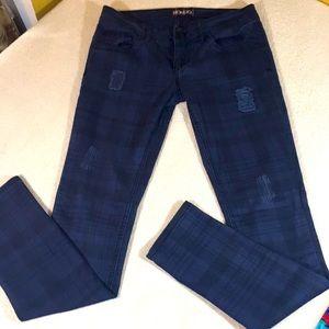Bongo Navy Plaid Skinny Jeans Size 5